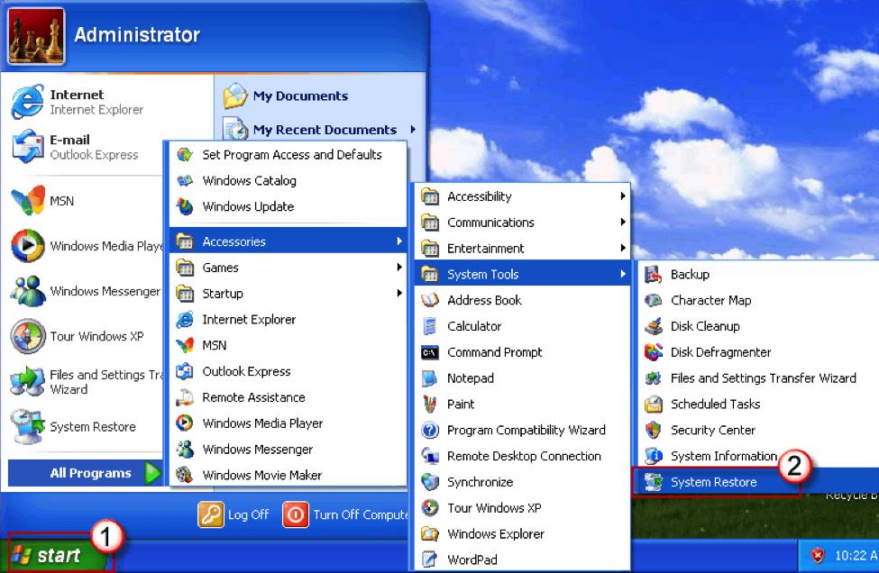Как на windows xp сделать восстановление системы на 186